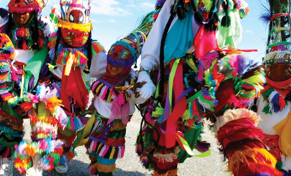 Gombey dancers in the city of hamilton
