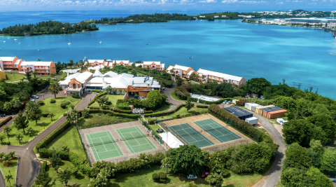 An aerial view of the tennis courts at Grotto Bay Resort