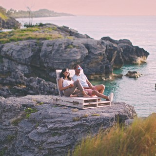 Bermuda Couple Relaxing Seaside