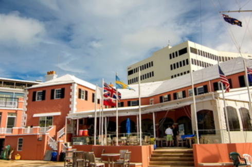 Royal Bermuda Yacht Club - A view of the Club from the dockside.